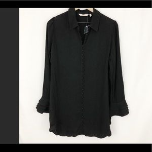 Soft black button up top